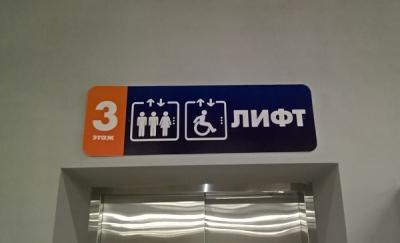 """Таблички-указатели """"Лифт грузовой"""", """"Лифт пассажирский"""" в ТЦ """"Лето"""""""