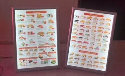 Световые тонкие панели для меню в суши-баре